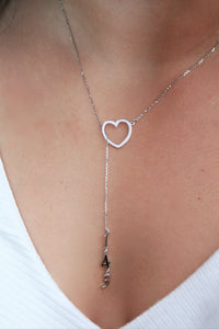 Original Hey Heart 143  Necklace | Silver/Pink Enamel