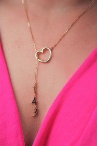 Original Hey Heart 143 Necklace Gold