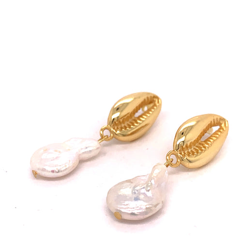 Genuine Baroque Pearl on Gold Vermeil Seashell Earrings