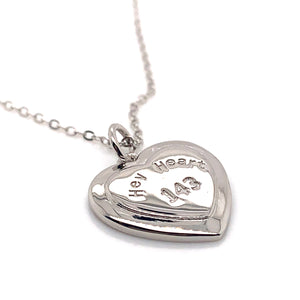 Hey Heart 143 Engraved Heart