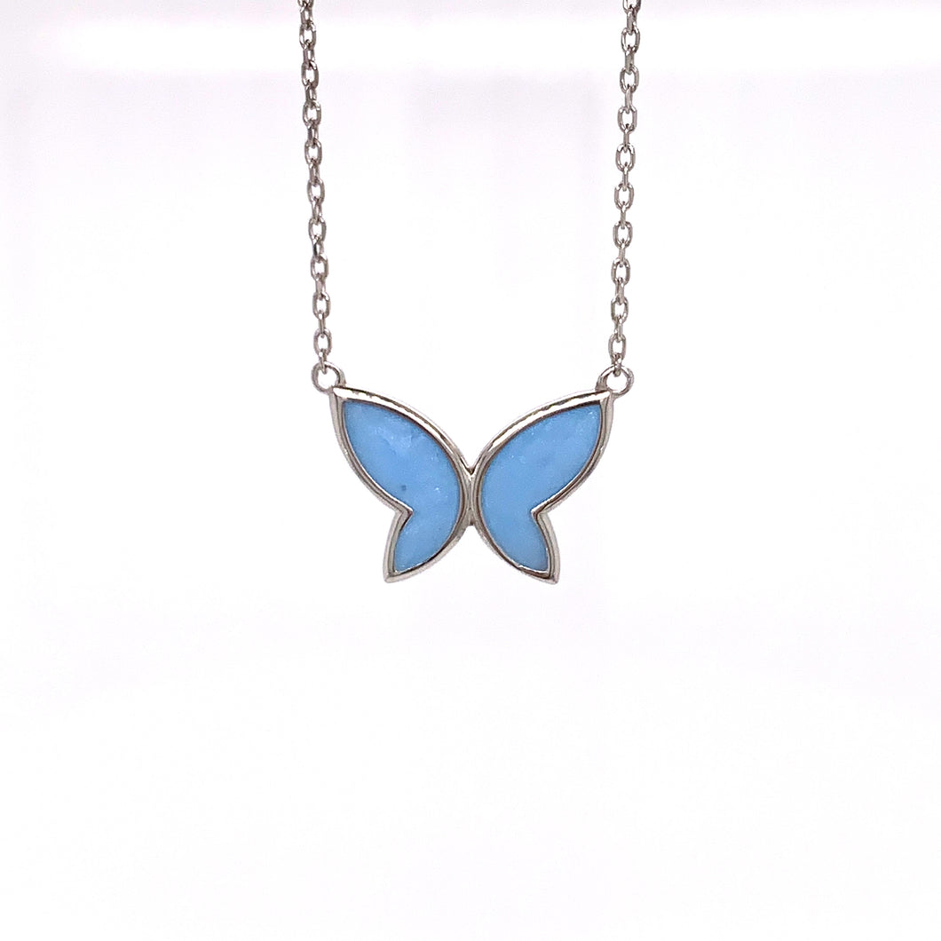 Blue Butterfly Silver Necklace