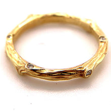 Load image into Gallery viewer, Branch Ring 14k Yellow Gold with 7pts diamond | hand engraved