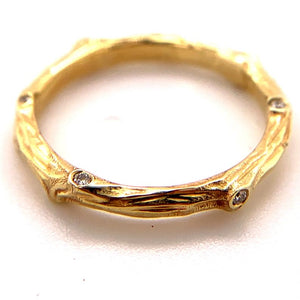Branch Ring 14k Yellow Gold with 7pts diamond | hand engraved