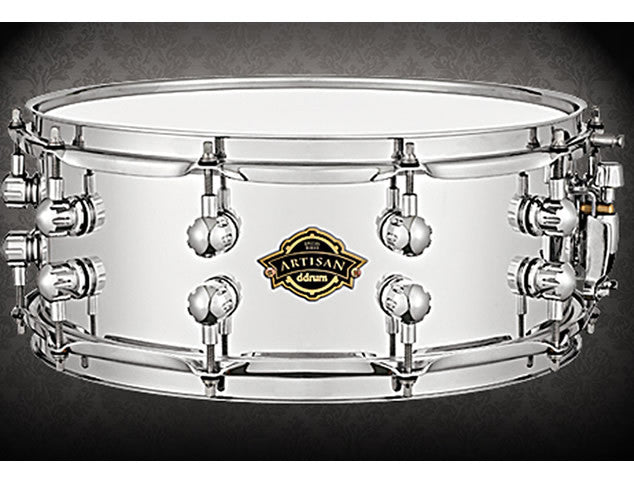 DDRUM Artisan Series 5.5x14 Chrome Over Wood Snare Drum
