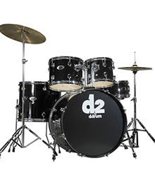 DDrum D2 5pc Beginner Drum Set in Silver, Red or Black Finishes