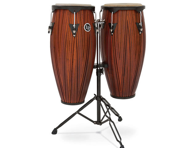 LP646NY Carved Wood Congas with Double Conga Stand