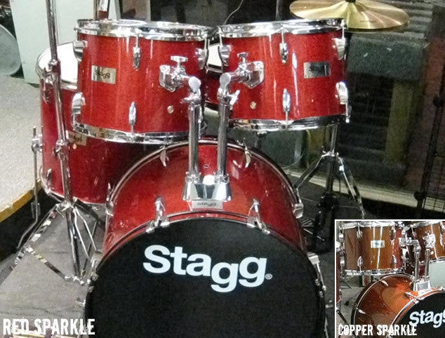 Stagg 5pc Beginner Drum Set in Copper or Red
