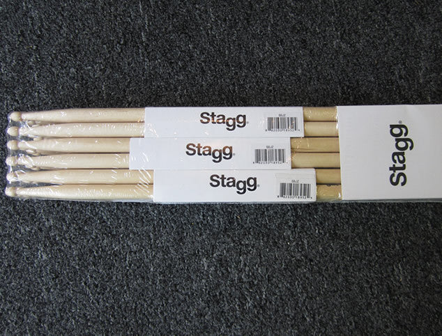 Stagg 12 Pair Brick of Drumsticks - Birch in 5A, 5B or 2B Wood Tip