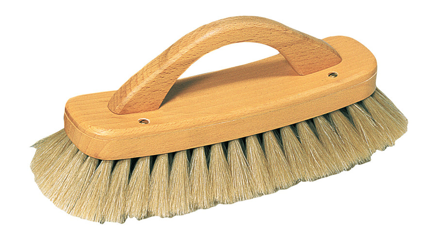 Shoe Shine Brush With Handle, Light Horsehair