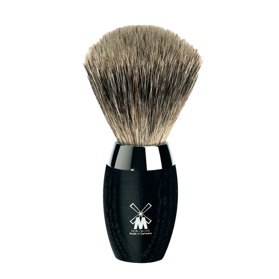 Shaving Brush with Badger Hair, Bog Oak Wood Handle & Stainless Steel Collar