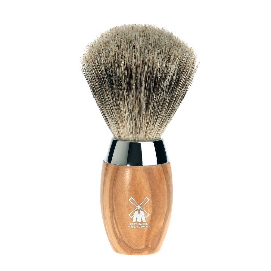 Shaving Brush with Badger Hair, Olive Wood Handle & Stainless Steel Collar