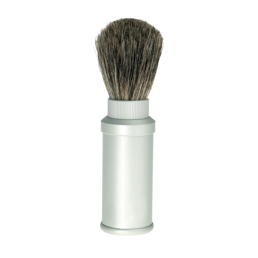 Travel Shaving Brush with Badger Hair & Aluminium Case
