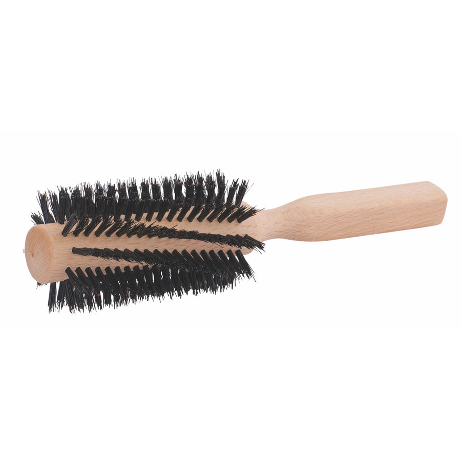 Wooden Hairbrush, Wide Round, Beechwood, Black Bristle
