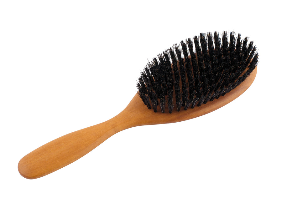 Wooden Oval Hairbrush, Pearwood & Stiff Black Bristle