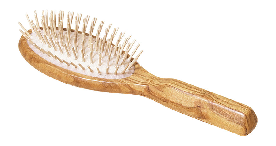 Wooden Hairbrush, Oval, Olive Wood, Maple Pins