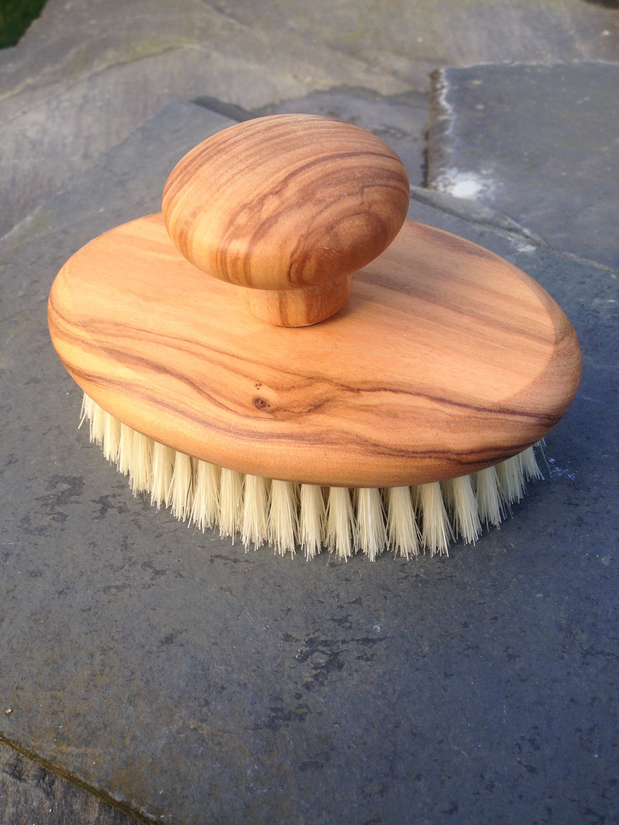 Wooden Massage Brush, Olive Wood & Light Bristle