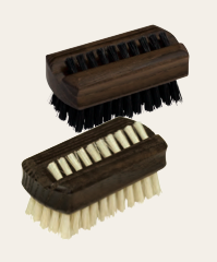 Wooden Travel Nailbrush, Dark Thermowood & Stiff Light Bristle