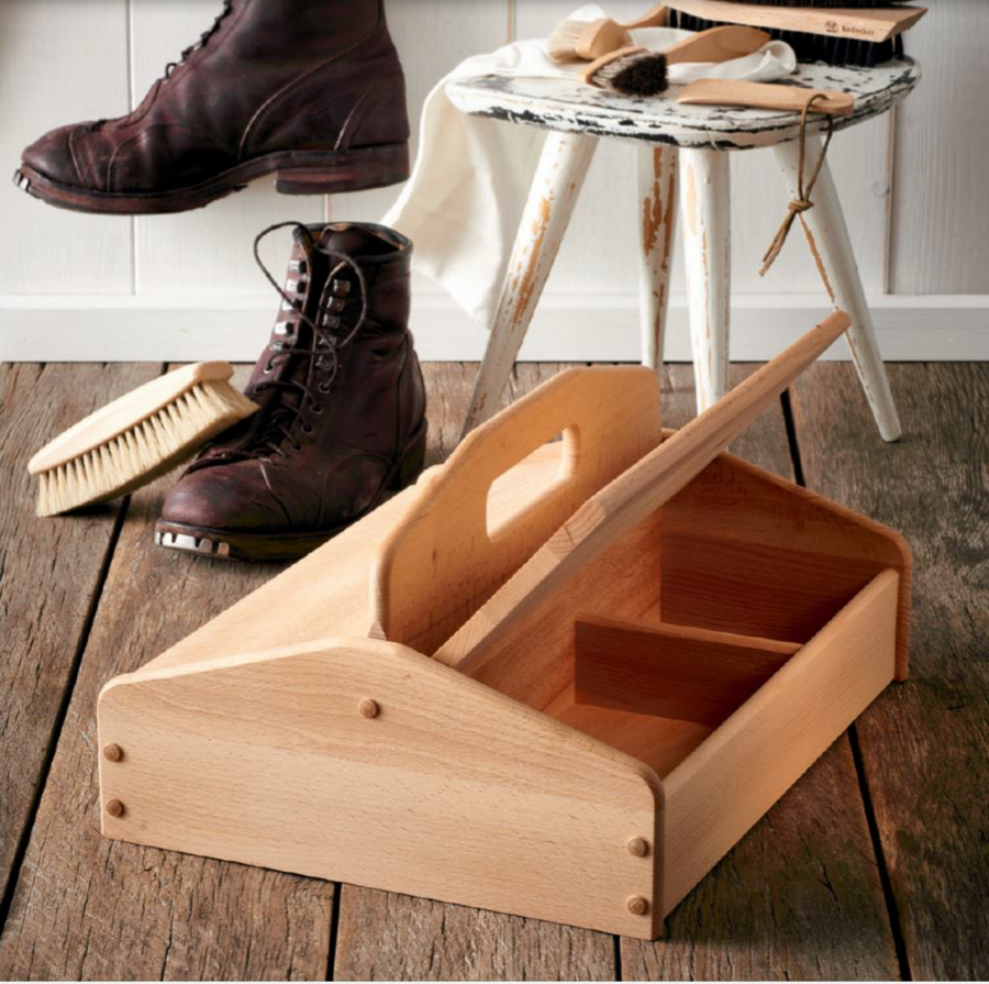 Shoe Cleaning Box With Lid, Beechwood
