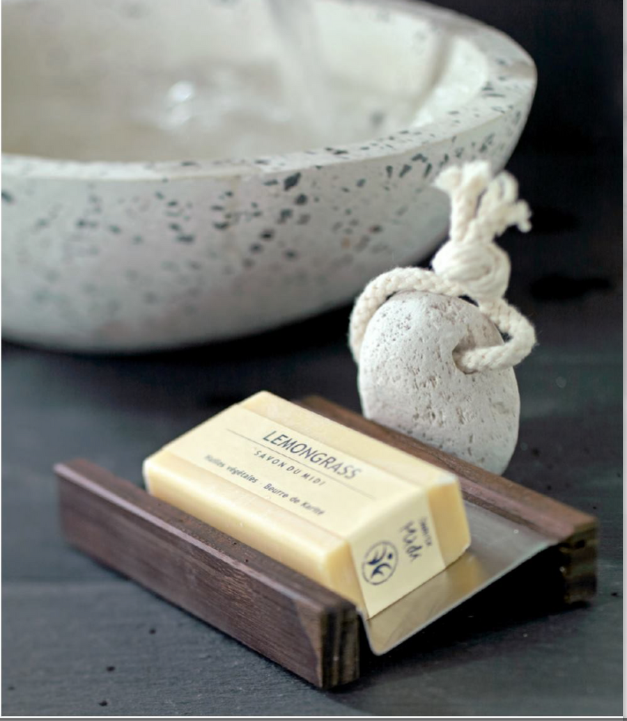 Wooden Soap Dish With Steel Tray 12.5Cm X 9.5Cm