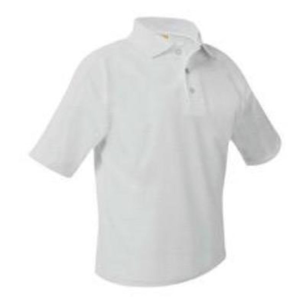 St Mary Unisex Short Sleeve Pique Knit Polo-White