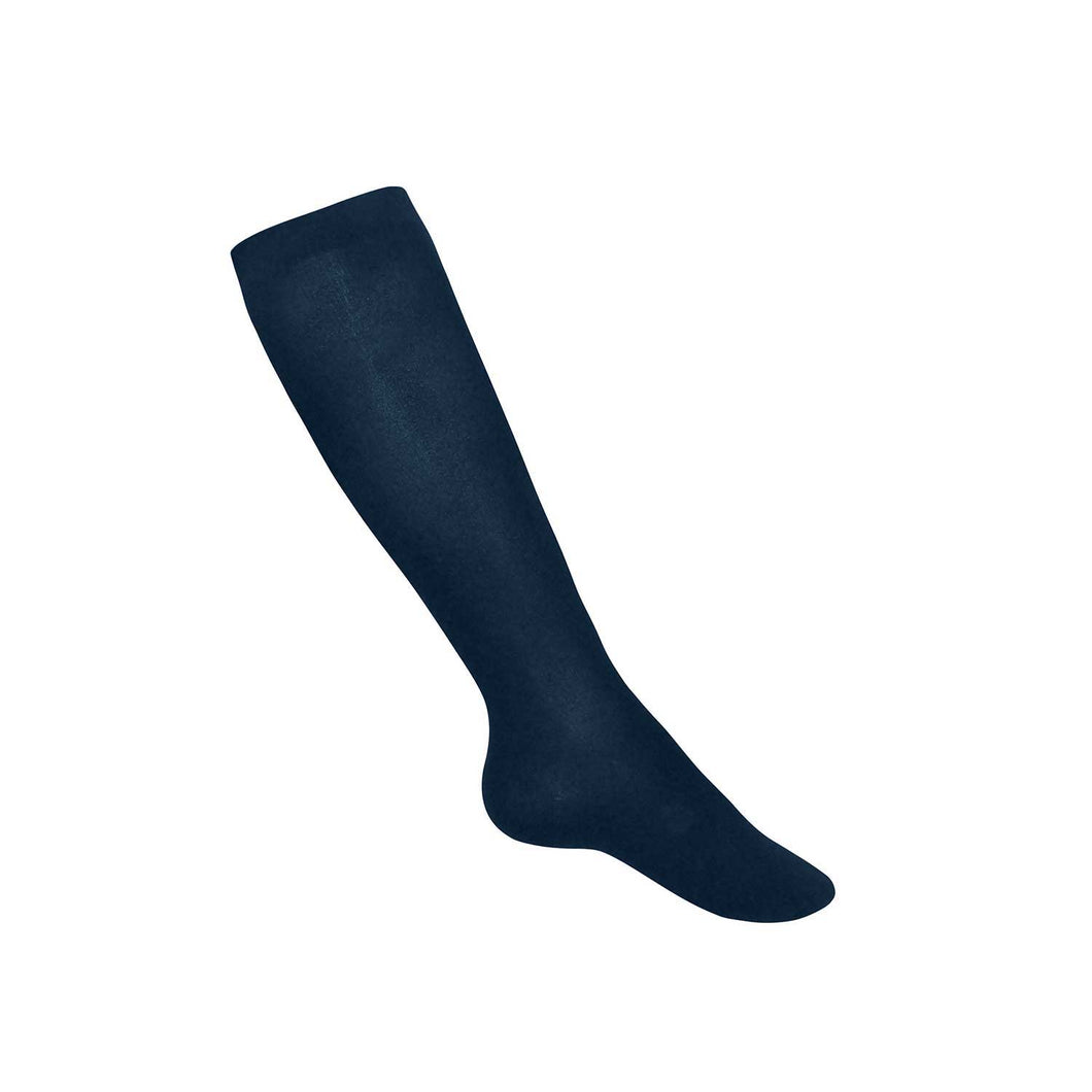 Girls Flat Knit Knee Hi-Navy