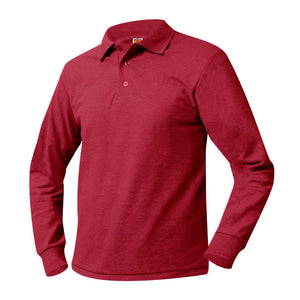 Unisex Long Sleeve Pique Polo-Red