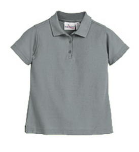 Austin Girls Short Sleeve Fitted Pique Knit-Grey