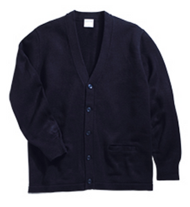 Unisex V-Neck Two Pocket Cardigan-Navy