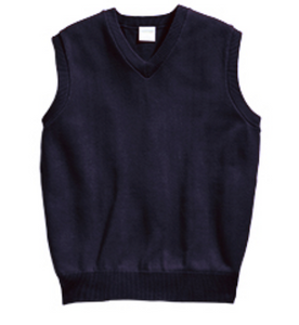 Unisex V-Neck Sleeveless Pullover - Navy