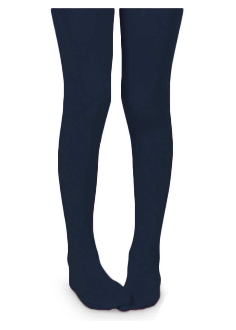 Girls Flat Knit Tights-Navy