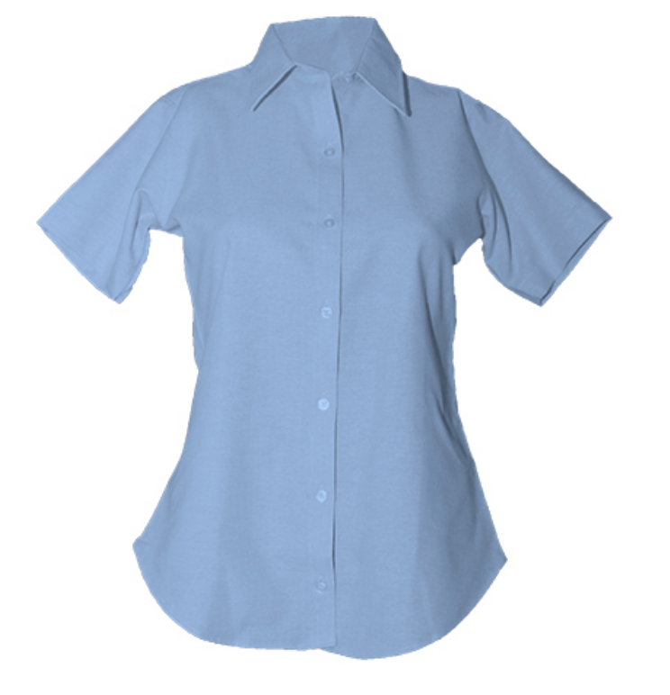 Girls Short Sleeve Oxford-Lt. Blue