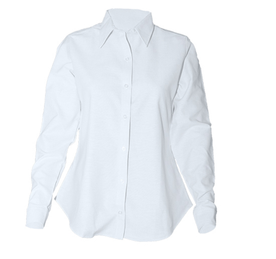 Girls Long Sleeve Fitted Oxford-White