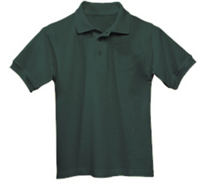 Unisex Short Sleeve Pique Knit Polo-Green