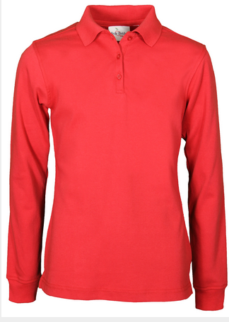 HFRS Girls Long Sleeve Knit Polo-Red