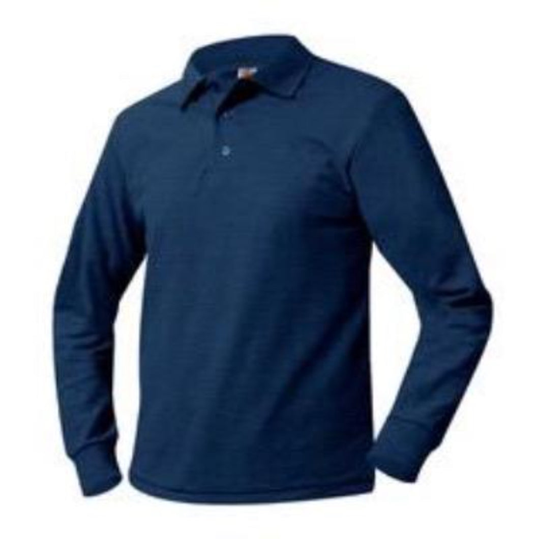 STL Unisex Pique Knit Long Sleeve-Navy