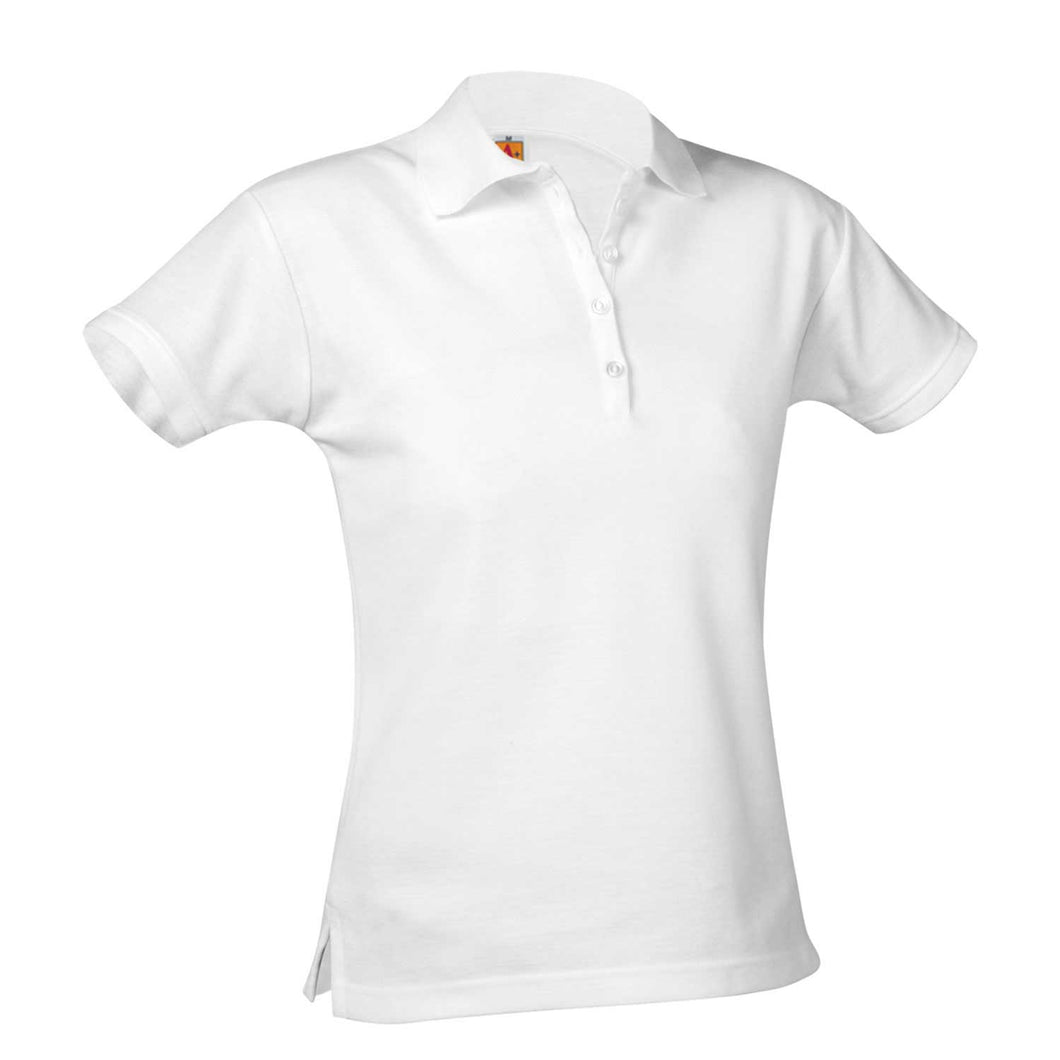 Austin Girls Short Sleeve Fitted Pique Knit-White