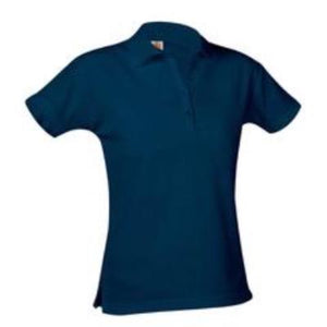 St Mary Girls Fitted Short Sleeve Pique Knit Polo-Navy