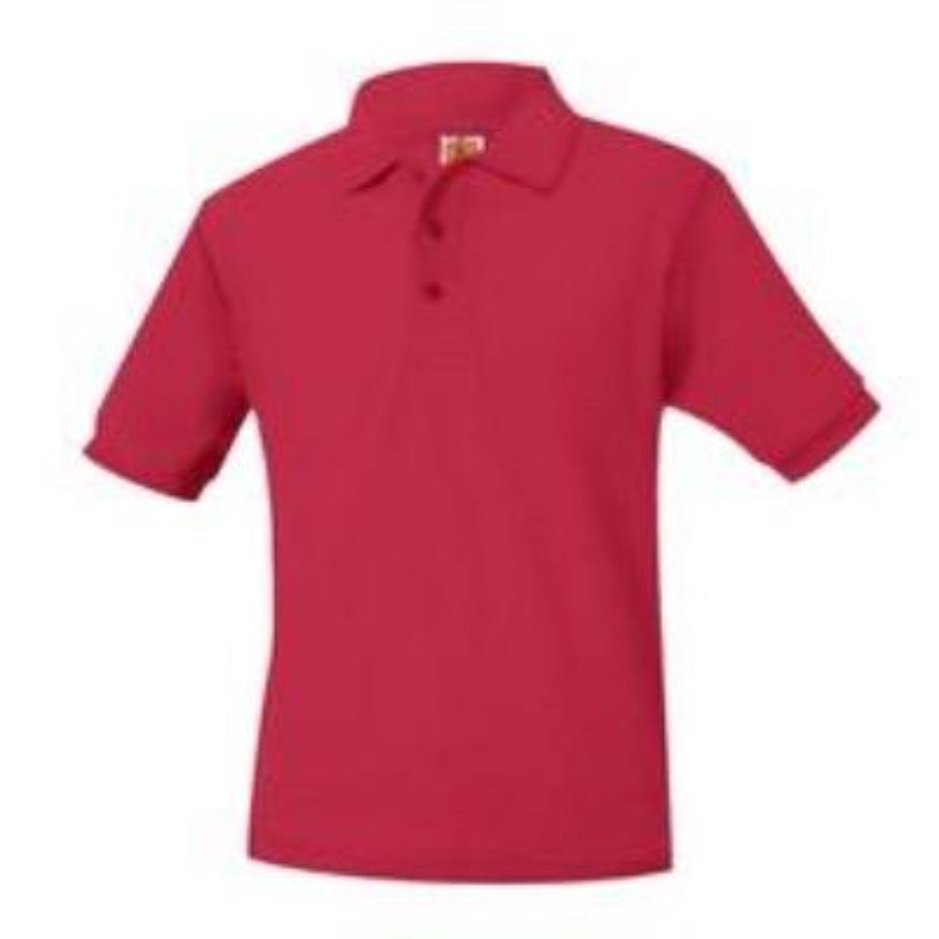 Unisex Short Sleeve Pique Knit Polo-Red