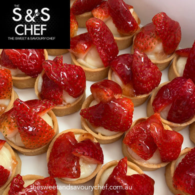 Mini Strawberry Custard Tarts -Catering Size