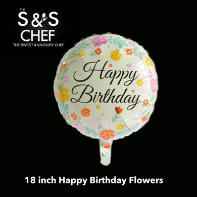 Happy Birthday Floral Dots 18inch Filled with Helium