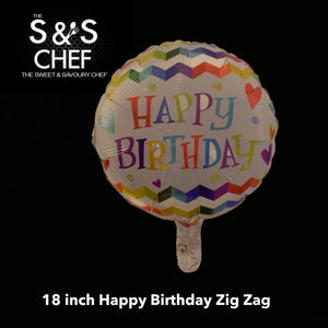 Happy Birthday Zig Zag 18inch Filled with Helium
