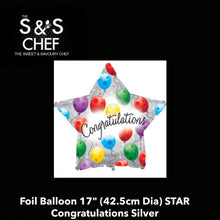 "Load image into Gallery viewer, Congratulations Foil Balloon 17"" (42.5cm Dia)   Congratulations Silver"