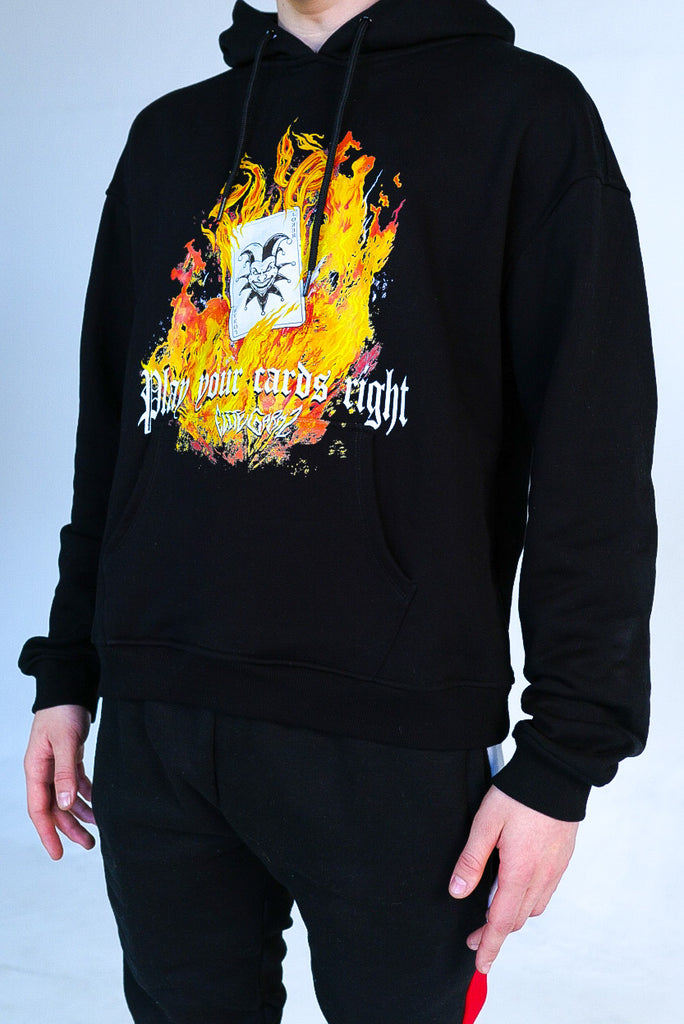 Play Your Cards Right Oversized Hoodie Black - Elitegarmz
