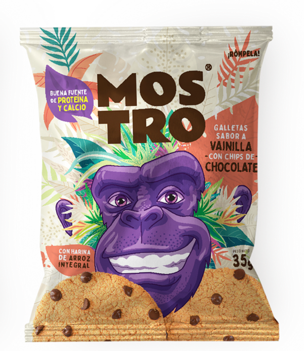 GALLETA MOSTRO, Vainilla con Chips de Chocolate x 35 g