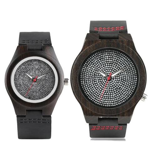 Montre Couple Bois Scintillant Insta-Couple