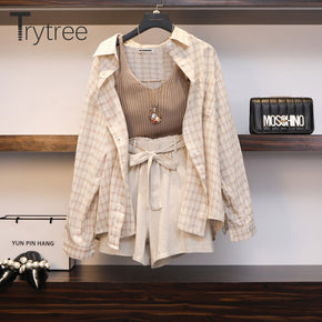 Women Three piece sets Casual Linen Plaid Tops + Shorts
