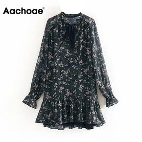 Aachoae Ruffle Bow Tie Mini Floral Print Dress