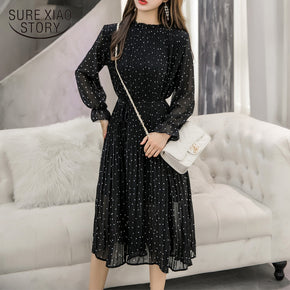 Black Vintage Clothes, Long Chiffon Dress