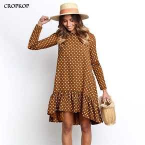 Polka Dot Chiffon Dress Long Sleeve O Neck Ruffle