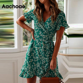 V Neck Floral Print Boho Beach Dress Ruffle Short Sleeve